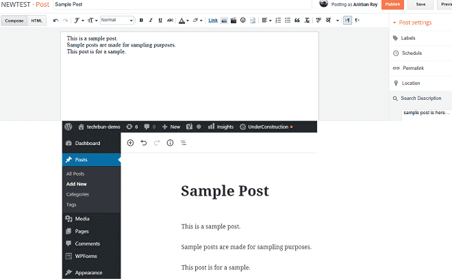 copy article from blogger to wordpress
