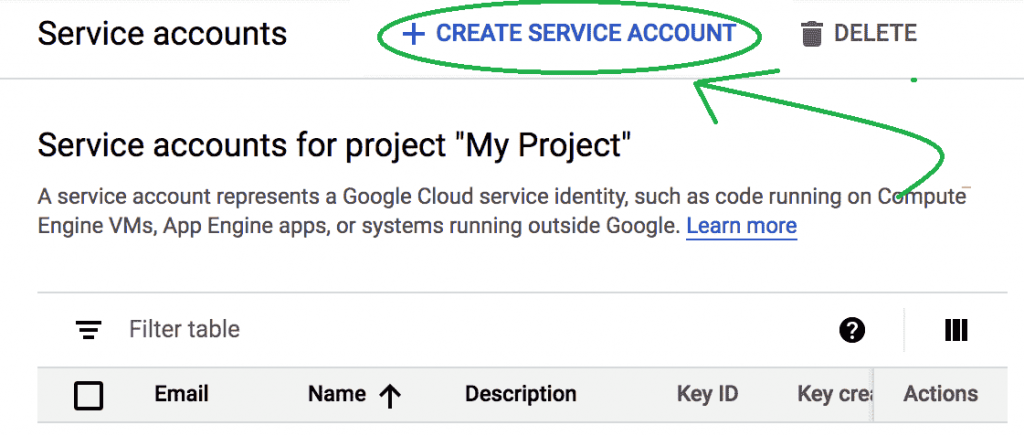 Create Service Account for Indexing API