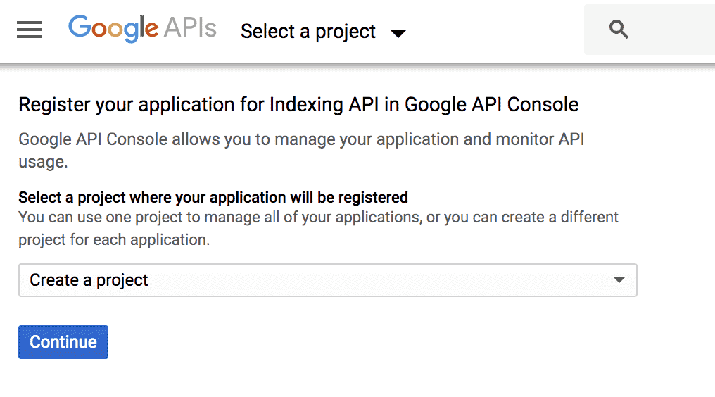 Google Register Your Application For Indexing API