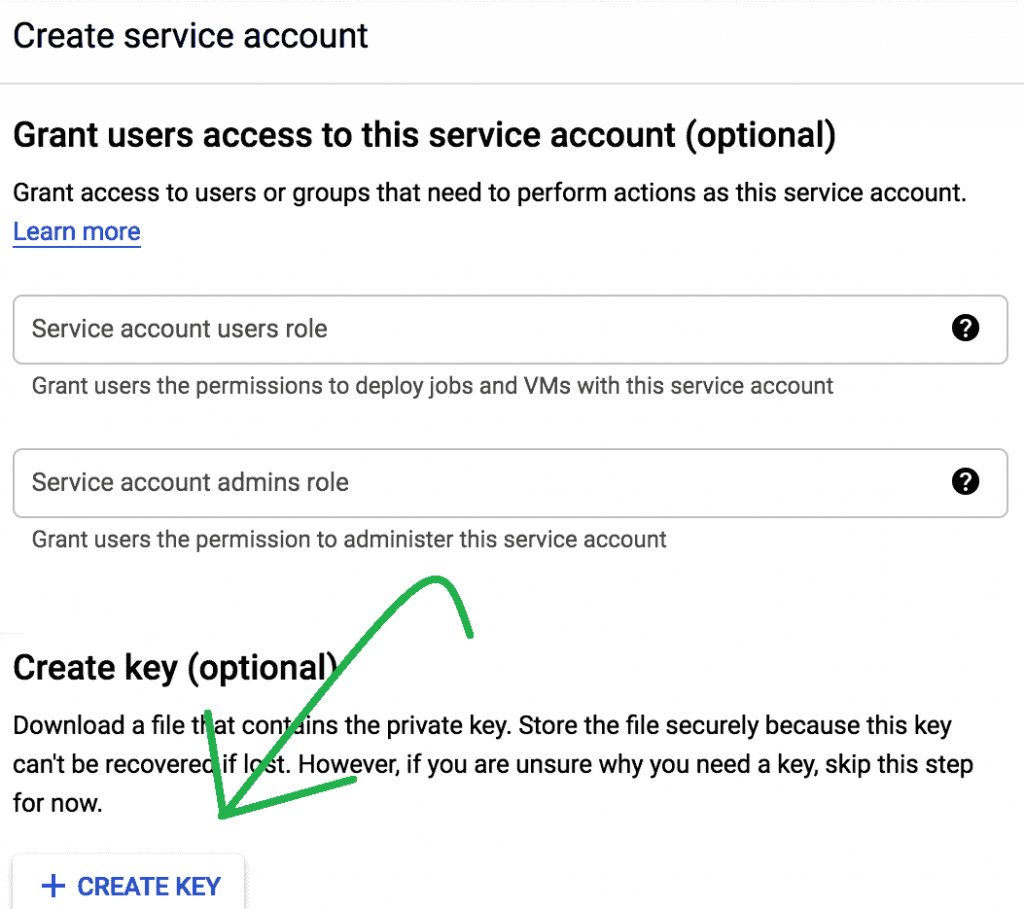 create service account key for google indexing api