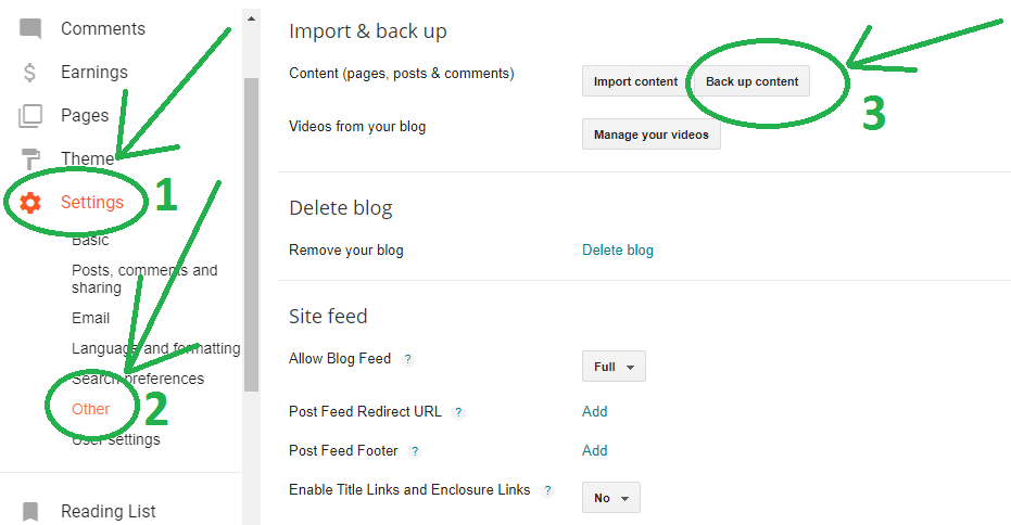 export content from blogger
