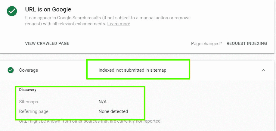 Google Search Console Indexed, Not submitted in sitemap