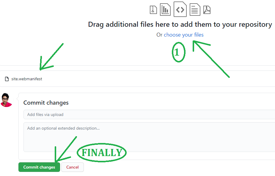 Upload the site.webmanifest file by clicking on commit changes