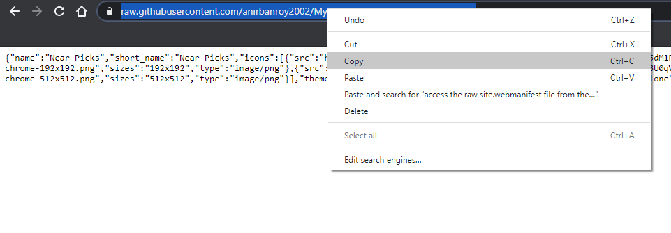 copy the url of the raw file