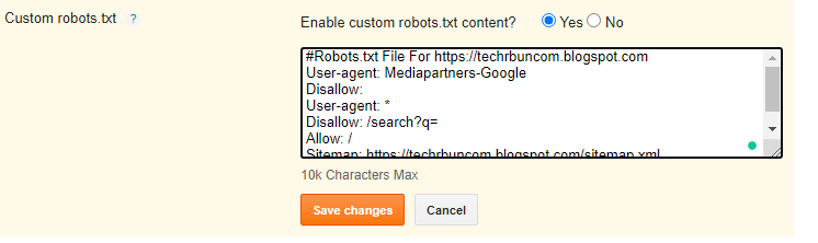 enable custom robots.txt and paste the code.
