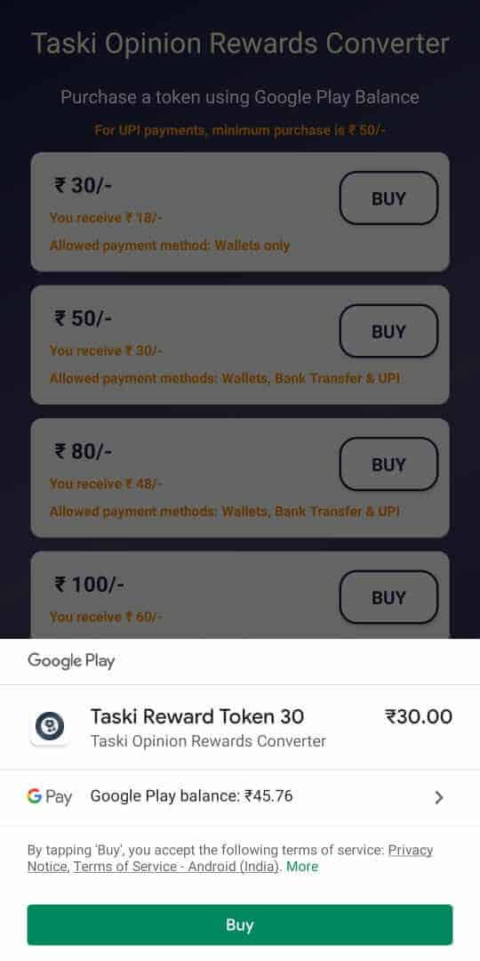 pay for the token using your google play balance.