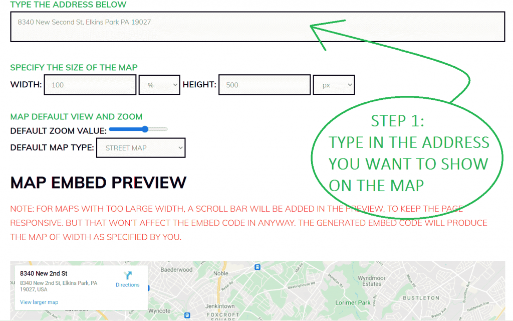 Type The Address That You Want To Show On The Map