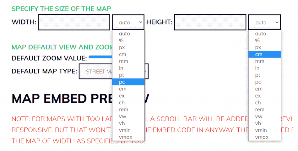 Adjust the size of the map that you want to embed on your site.