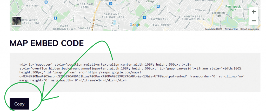 Copy the generated embed code
