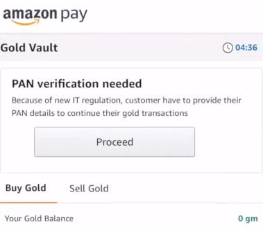 Amazon Pay Gold Vault PAN card verification.