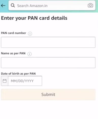 PAN card details.
