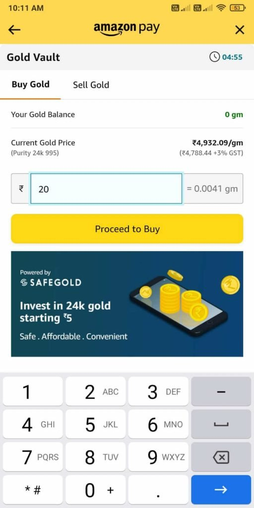Enter the amount of digital gold that you want to buy.